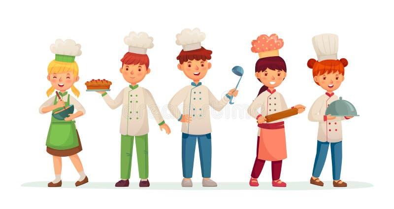 Cocineros jovenes Cocineros felices de los niños, niños que cocinan y que cuecen en el ejemplo del vector de la historieta del tr ilustración del vector