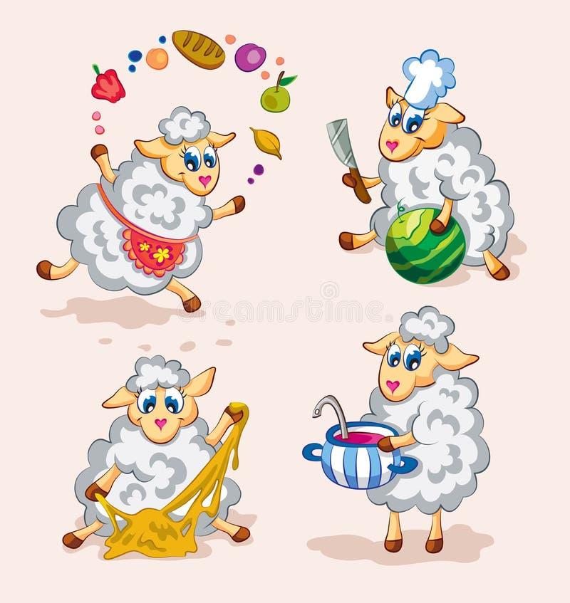 Cocineros lindos de las ovejas imágenes de archivo libres de regalías