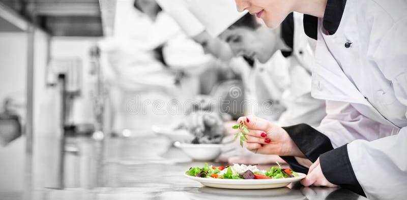 Cocineros que acaban sus ensaladas en clase culinaria imagen de archivo libre de regalías