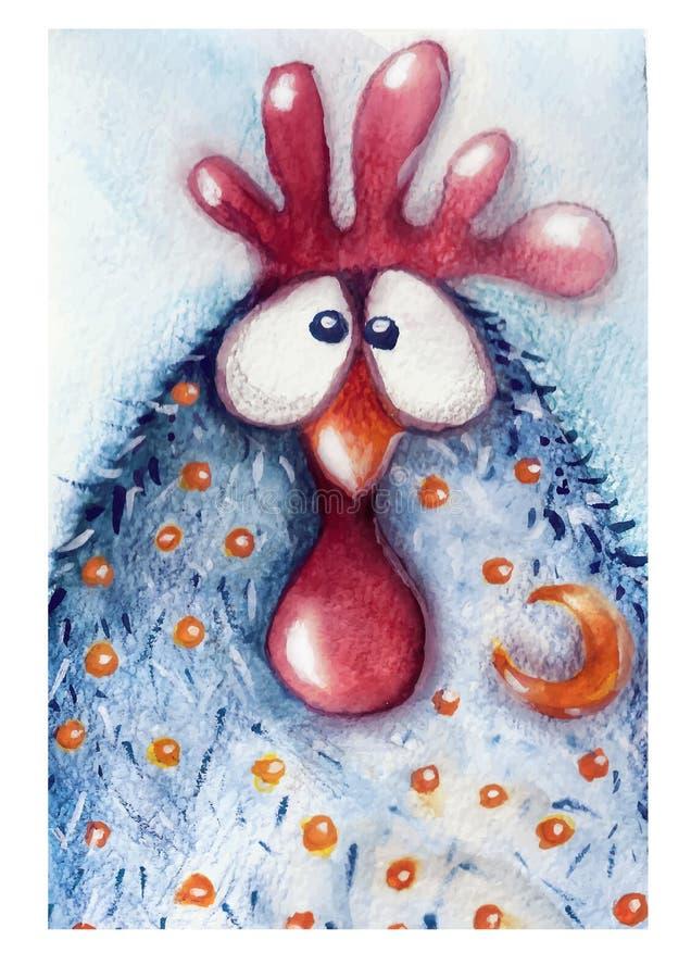 Cock, drawn in watercolor stock illustration