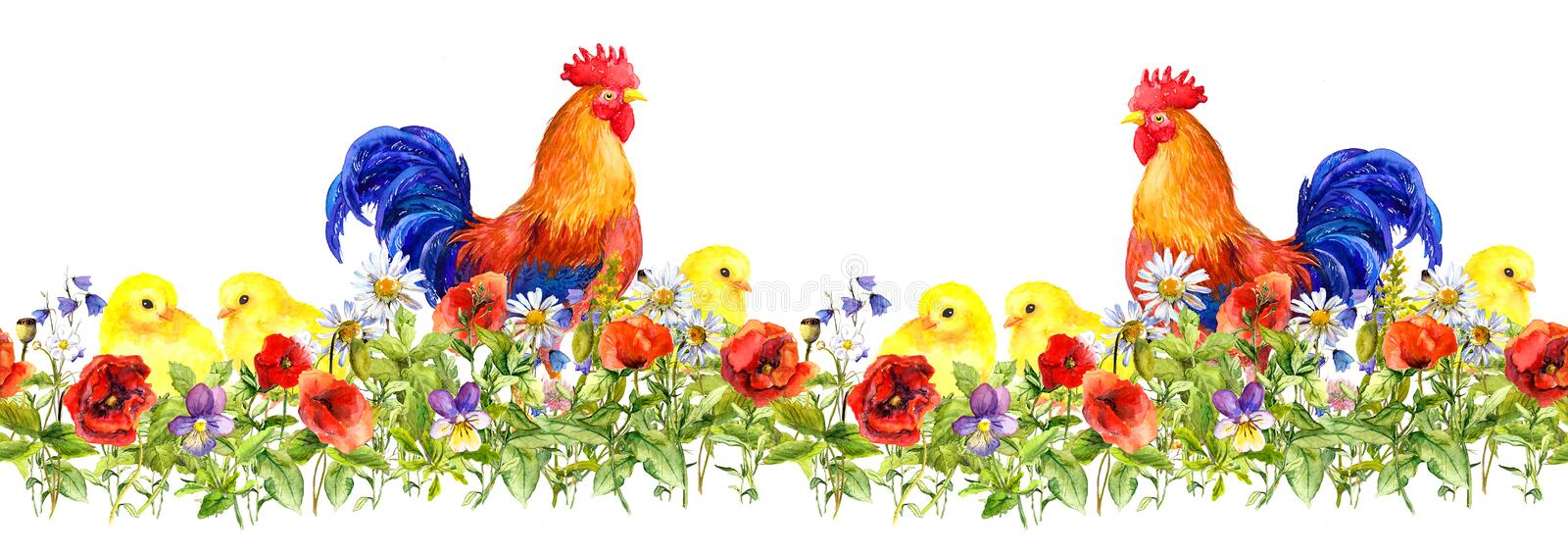 Rooster and small chicks in grass, flowers. Seamless pattern. Watercolor. Rooster and small chicks in grass and flowers. Seamless pattern. Watercolor stock photo