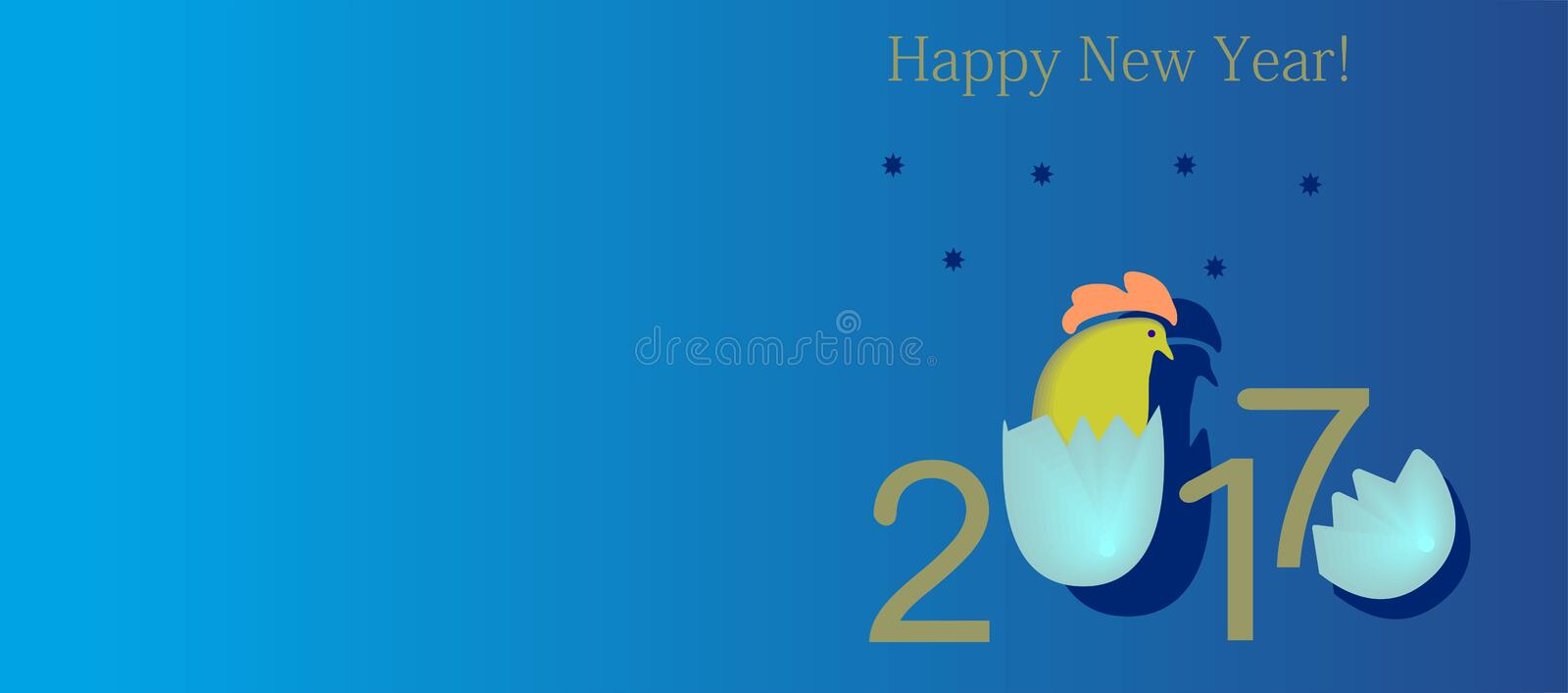 2017 with a cock, the symbol hatched from an egg. In orange, blue, yellow colors on a blue background vector illustration