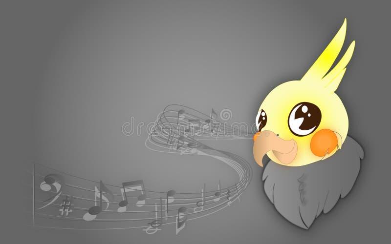 Cockatiel, χαριτωμένο χαμογελώντας μωρό Cockatiel με τις μουσικές νότες στο γκρίζο υπόβαθρο, με τη θέση για το κείμενό σας απεικόνιση αποθεμάτων