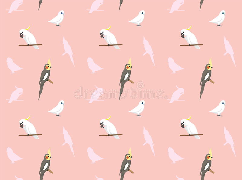 Cockatiel Corella Cockatoo Wallpaper del pappagallo illustrazione di stock