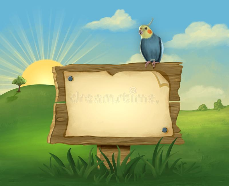 Cockatiel on a signpost. Cockatiel perched on a signpost, with space to insert your own text. Digital illustration royalty free illustration