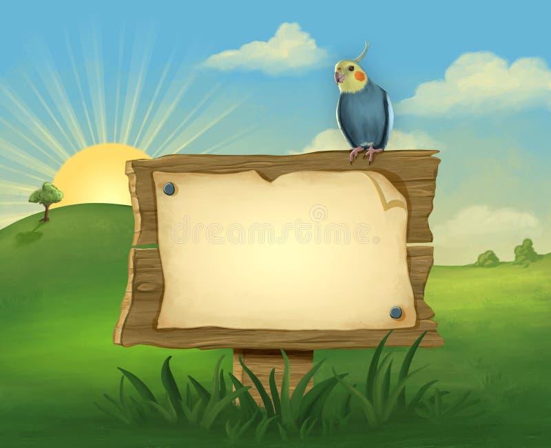 Cockatiel sur un poteau indicateur photo libre de droits