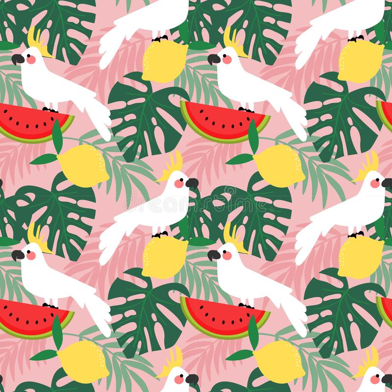 Cockatoo in tropical forest seamless pattern vector illustration