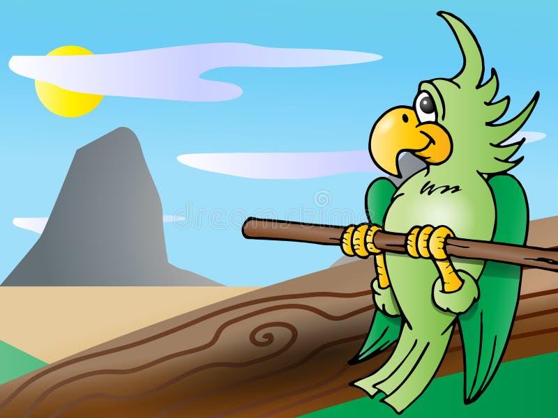 Cockatoo verde stock de ilustración