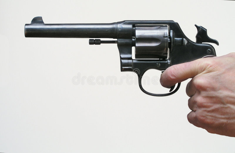 Download Cocked Revolver stock photo. Image of military, shooting - 86870