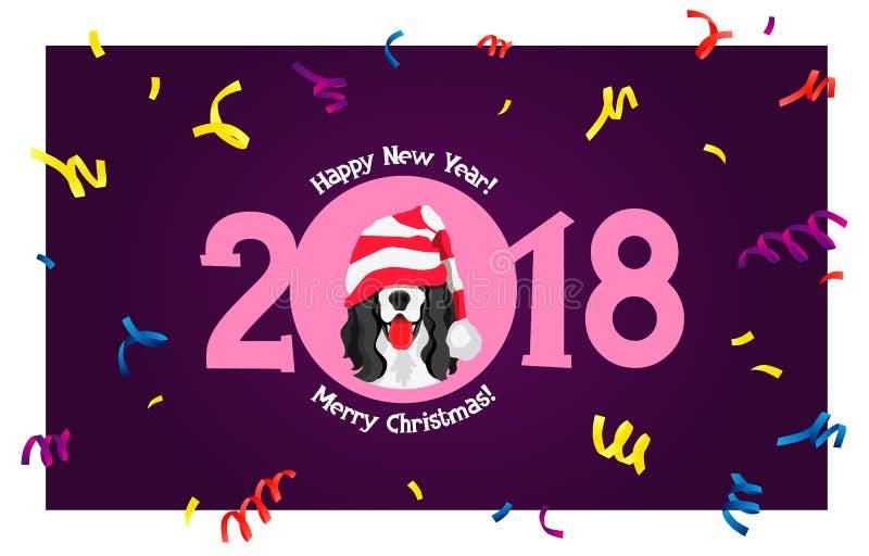 Cocker spaniel Feliz Año Nuevo stock de ilustración