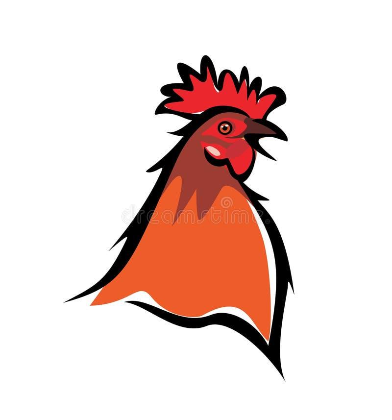 Cockerel, chicken portrait. Isolated illustration vector illustration
