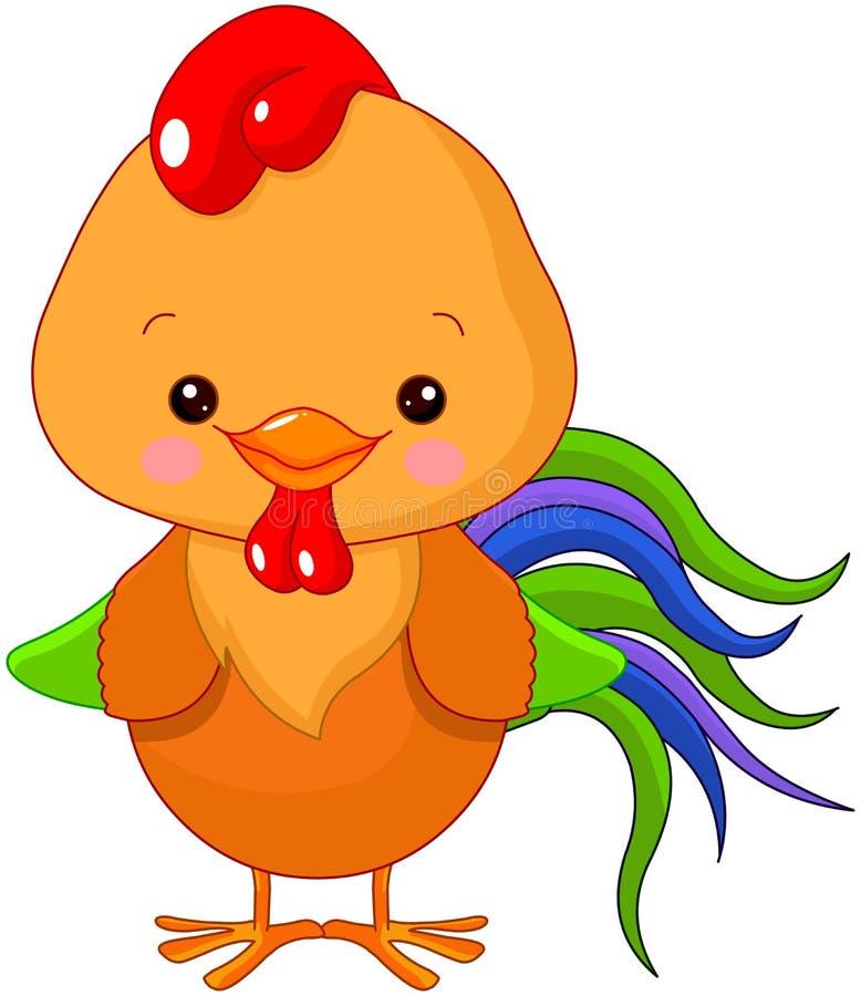 Cockerel. Illustration of cute motley cockerel vector illustration