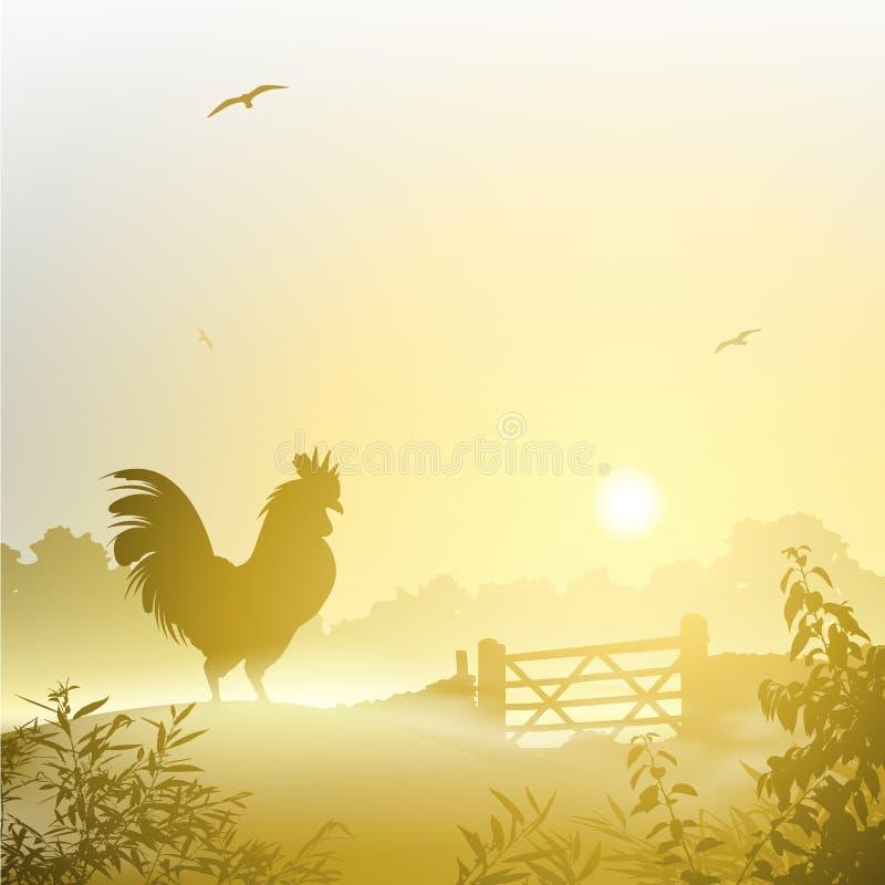 Cockerel, Rooster. A Misty Morning Landscape with Cockerel, Rooster vector illustration