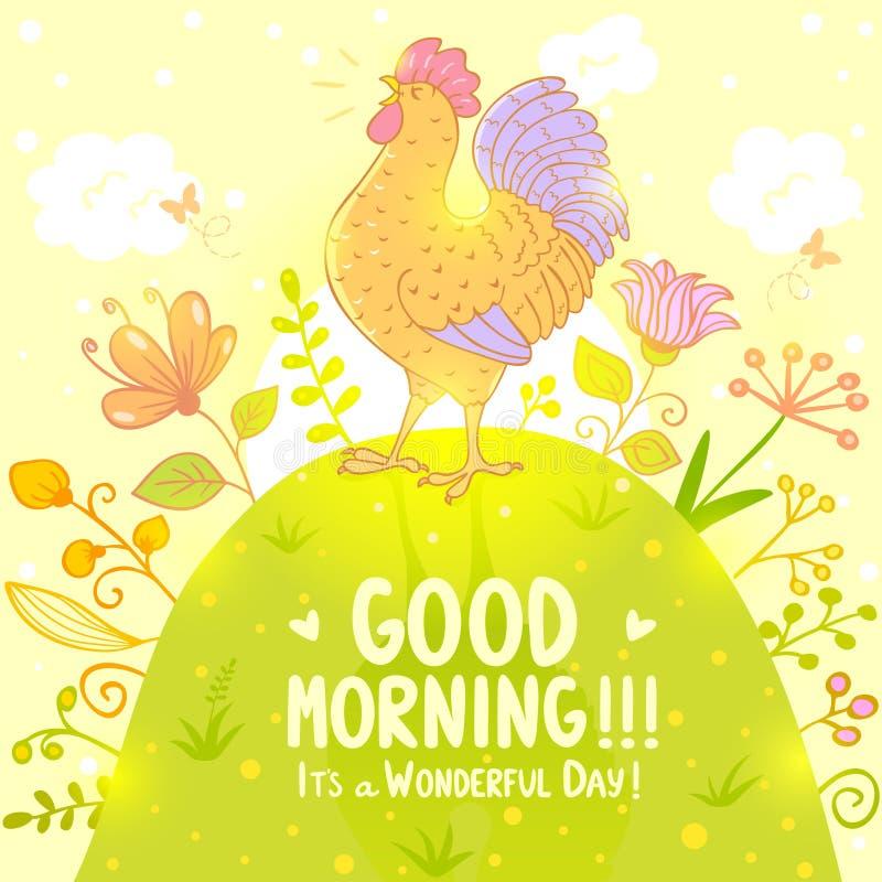 Cockerel sings. Stylish illustration with beautiful and sweet singing cockerel stock illustration