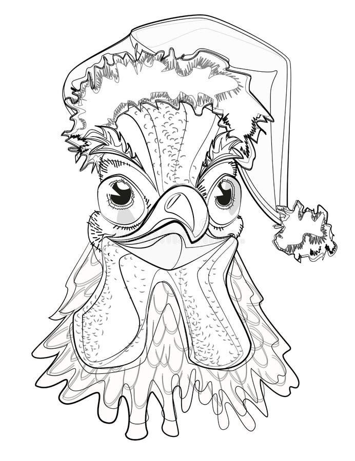 Cockerel symbol of New Year in Santa Claus hat stock illustration