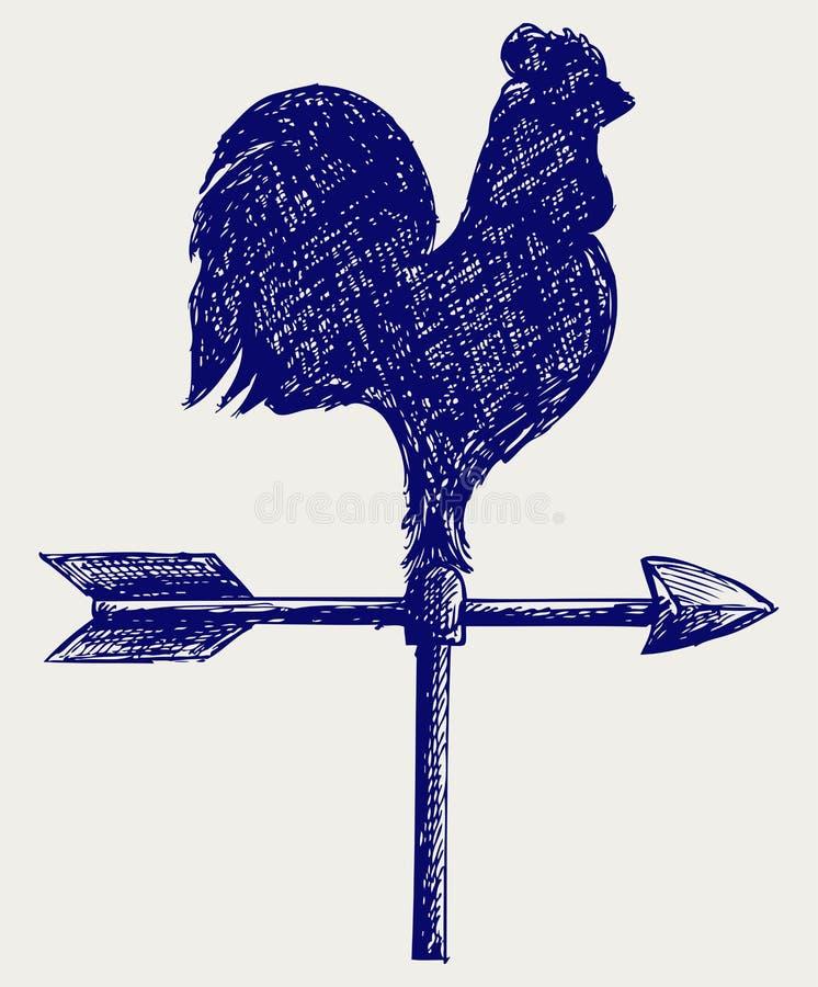 Cockerel wind vane. Doodle style. Vector vector illustration