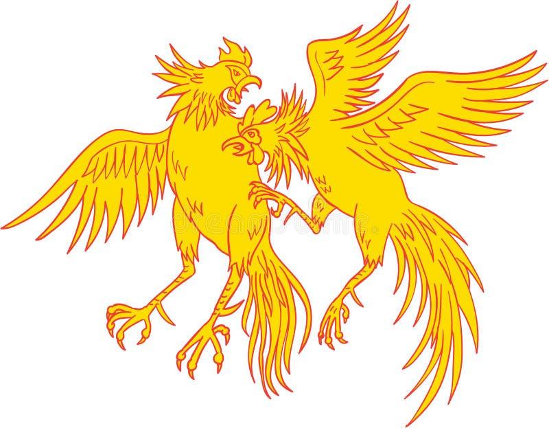 Cockfighting kogutów Cockerel rysunek royalty ilustracja