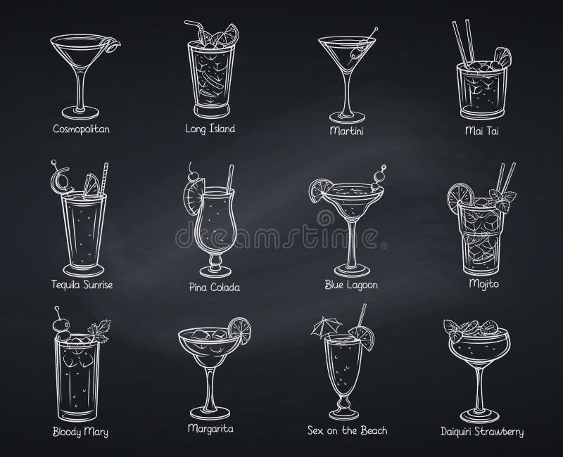 Cocklails alcohólicos tropicales ilustración del vector