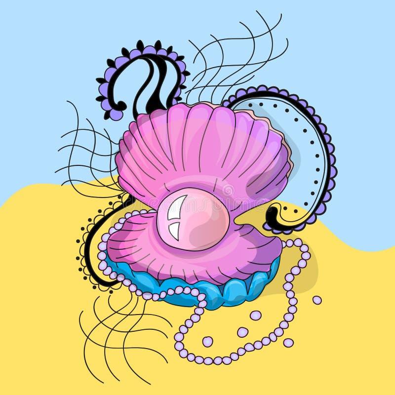 Cockleshell marinho com uma pérola ilustração stock