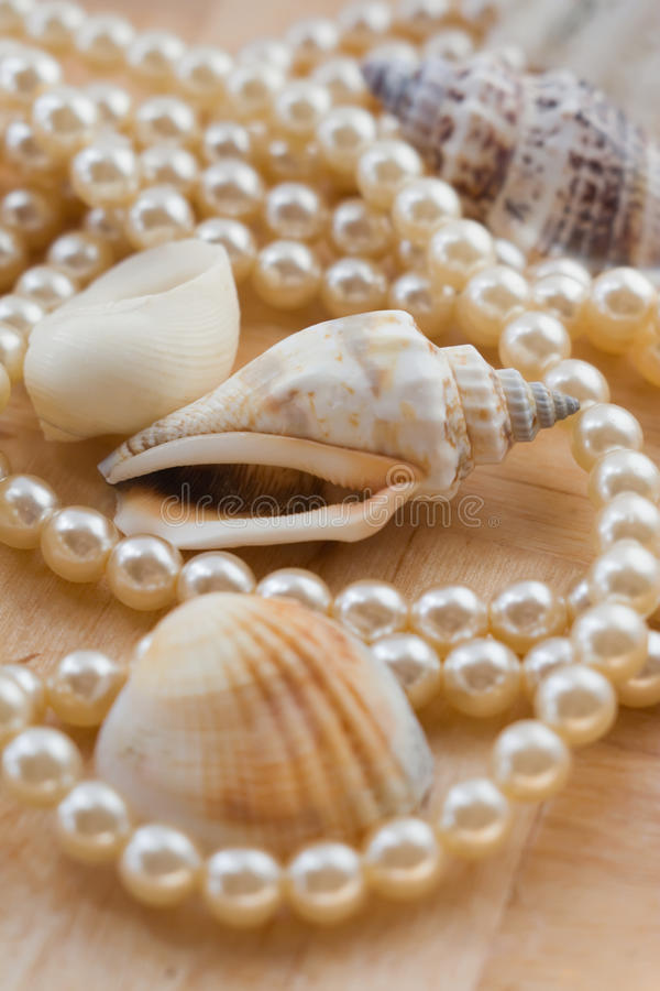 Cockleshell and pearls. Wooden background stock images