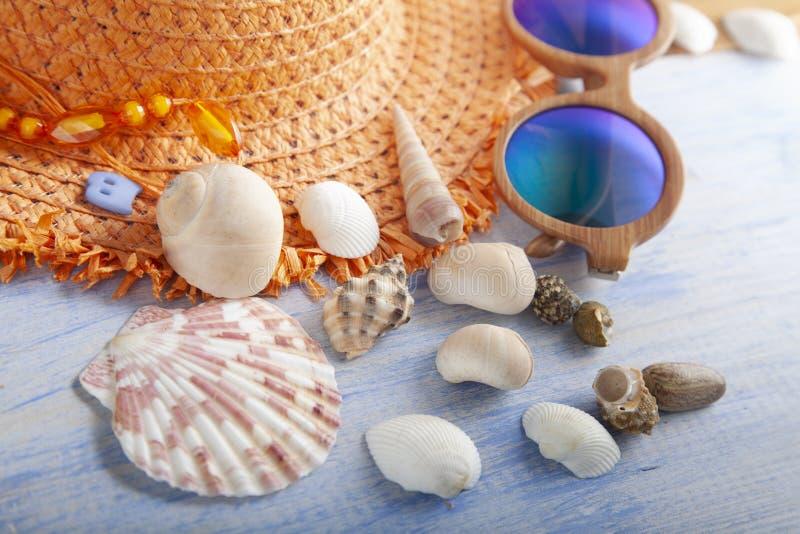 Cockleshells do chapéu dos vidros dos acessórios da praia fotografia de stock royalty free