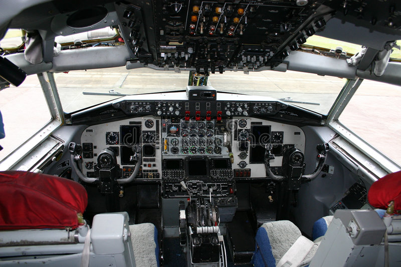Cockpit. Take a look in this cockpit stock photo