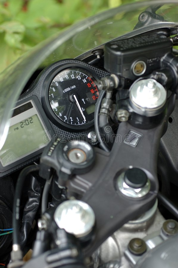 Cockpit 2. Black cockpit of motocycle - detail royalty free stock photo