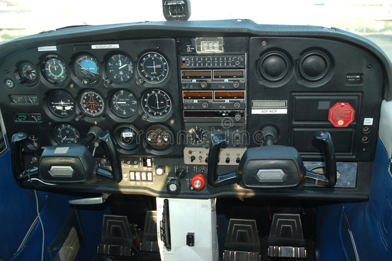 Cockpit of airplane. Cockpit of a private aircraft showing instrumentation stock images