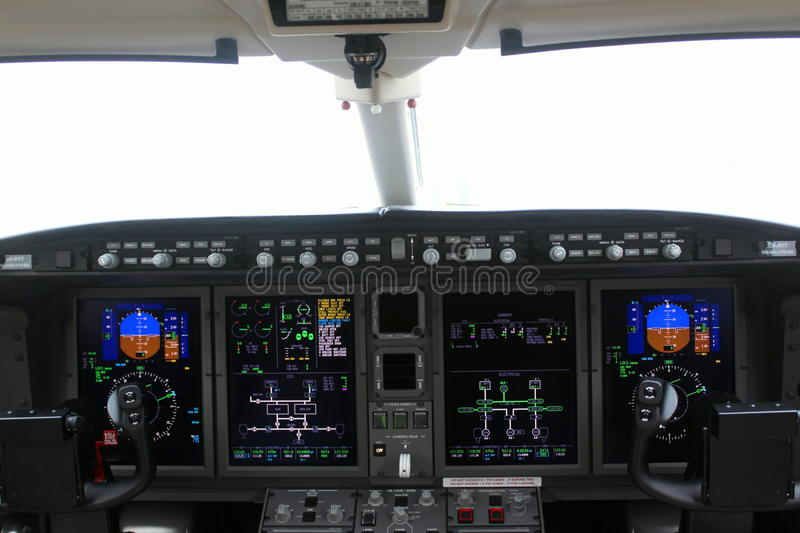 Cockpit of an airplane and board stock photo