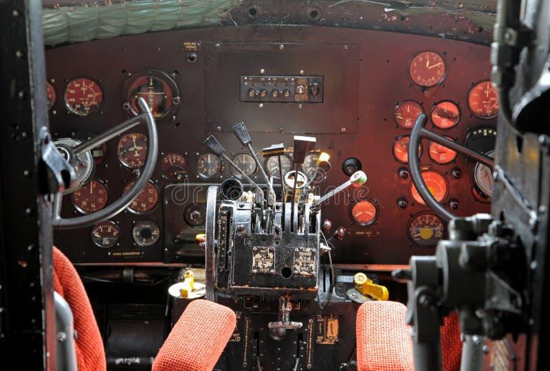 Cockpit of airplane Li-2 stock photos