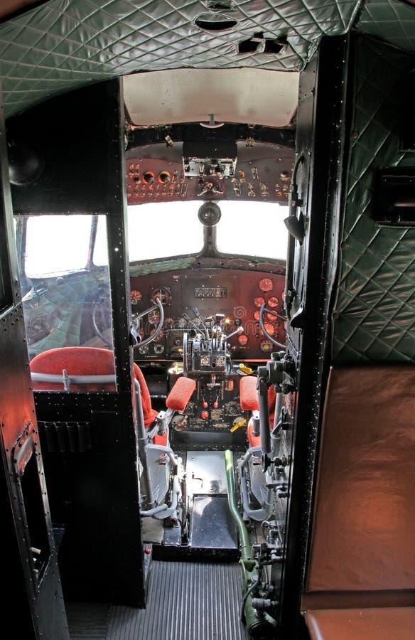 Cockpit of airplane Li-2 royalty free stock photography