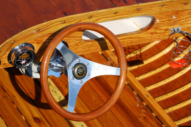 Cockpit of an antique boat stock photography
