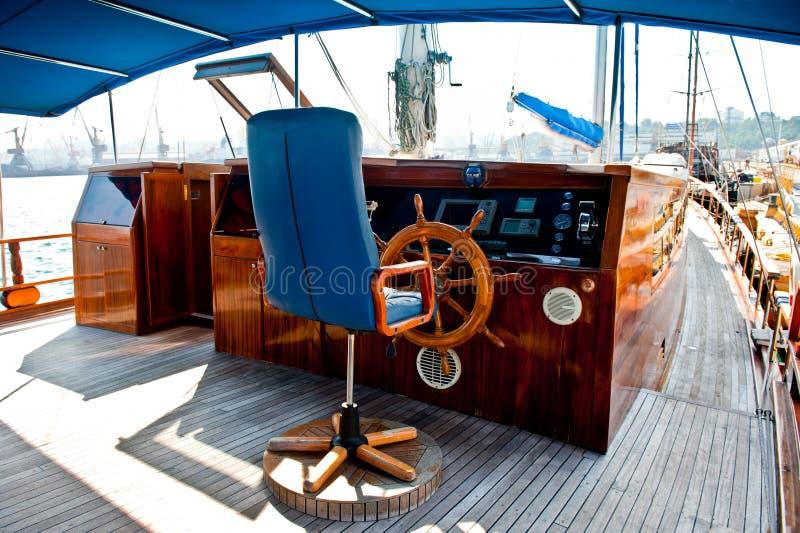 Cockpit binnen een boot met een houten wiel. royalty-vrije stock afbeelding