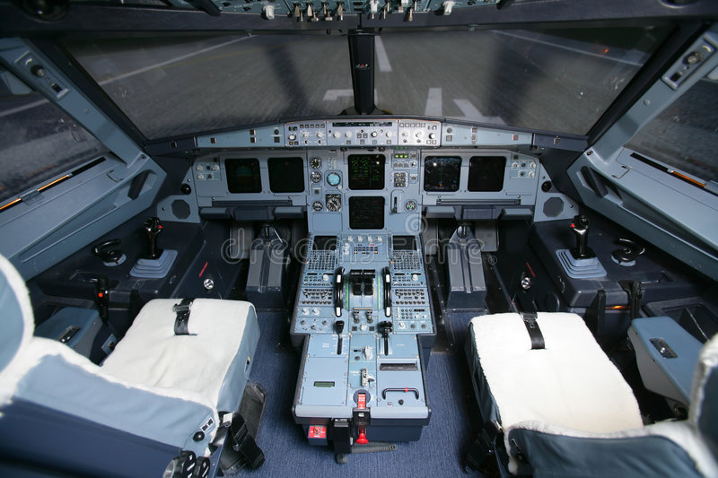 Cockpit of a Boeing. On the airport royalty free stock photos