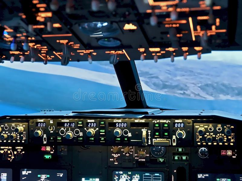 Cockpit Of A Boeing 737 Airplane Editorial Photography
