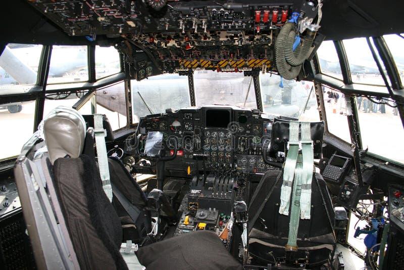 Cockpit c-130 Hercules royalty-vrije stock afbeelding