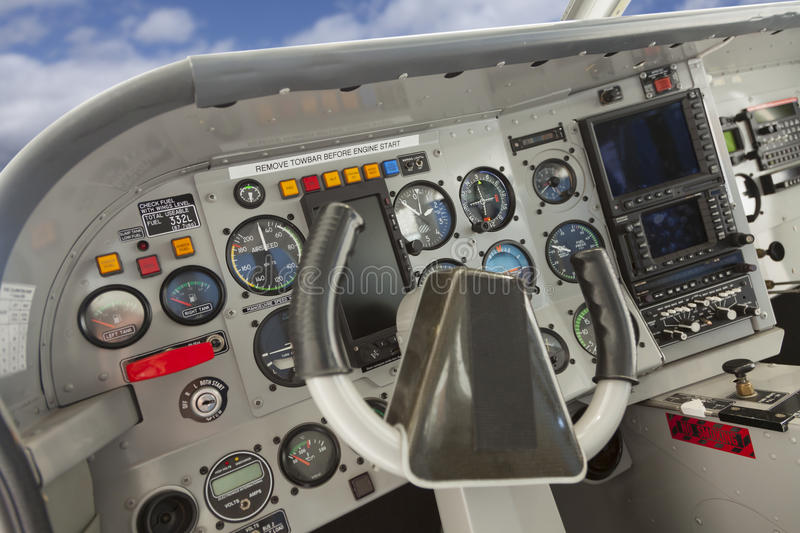 Cockpit of a Cessna Airplane. royalty free stock image