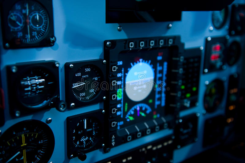 Cockpit control. Internal of Cockpit - Aircraft Registration and Visible logo removed royalty free stock photo