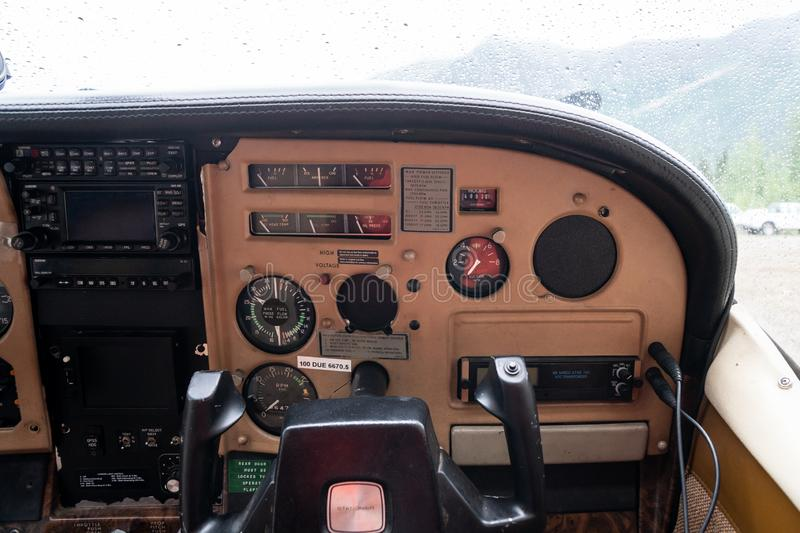 Cessna 172 Cockpit Airplane Flight Instrument Panel With