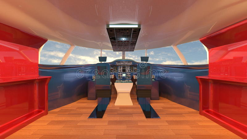 Cockpit. 3D CG rendering of the cockpit royalty free illustration