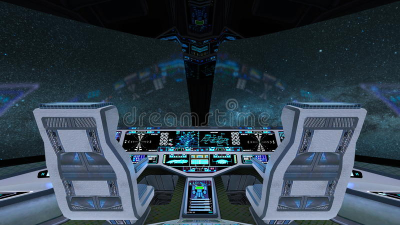 Cockpit. 3D CG rendering of the cockpit stock illustration