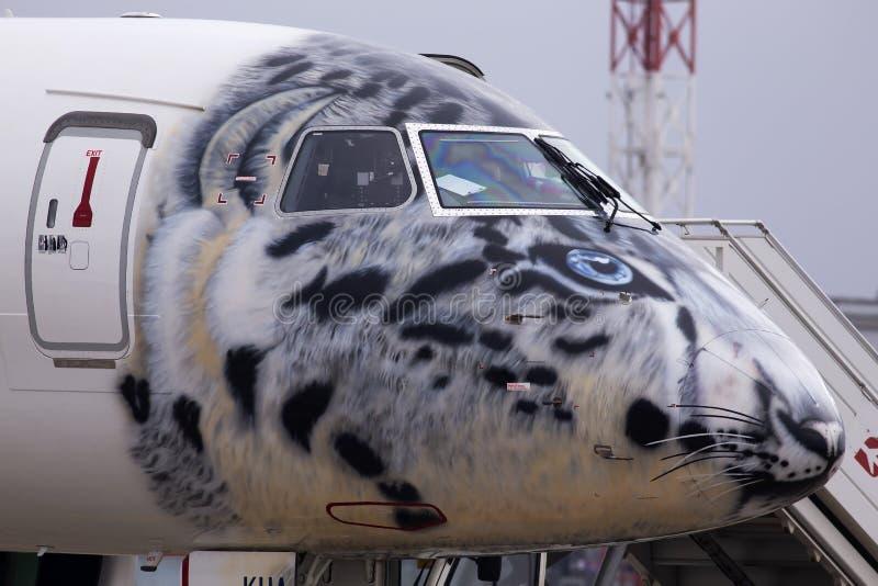 Cockpit des P4-KHA Air Astana Embraer E190-E2-Flugzeugs in der Schneeballdecke lizenzfreie stockfotografie