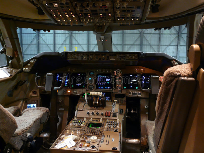 Cockpit details. A close up of an aircraft instrument panel royalty free stock photo