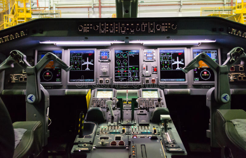 Cockpit of Embraer royalty free stock photos