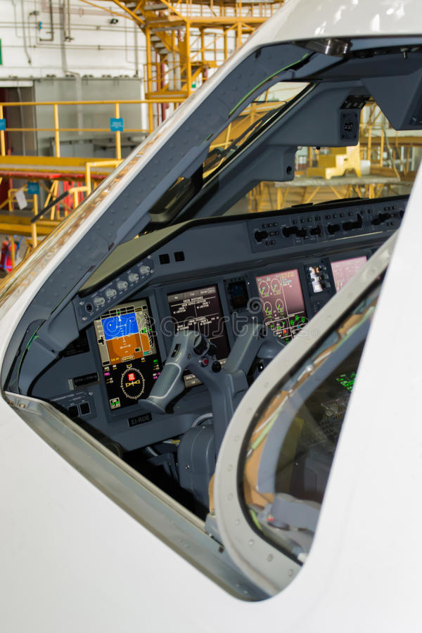 Cockpit of Embraer royalty free stock photo