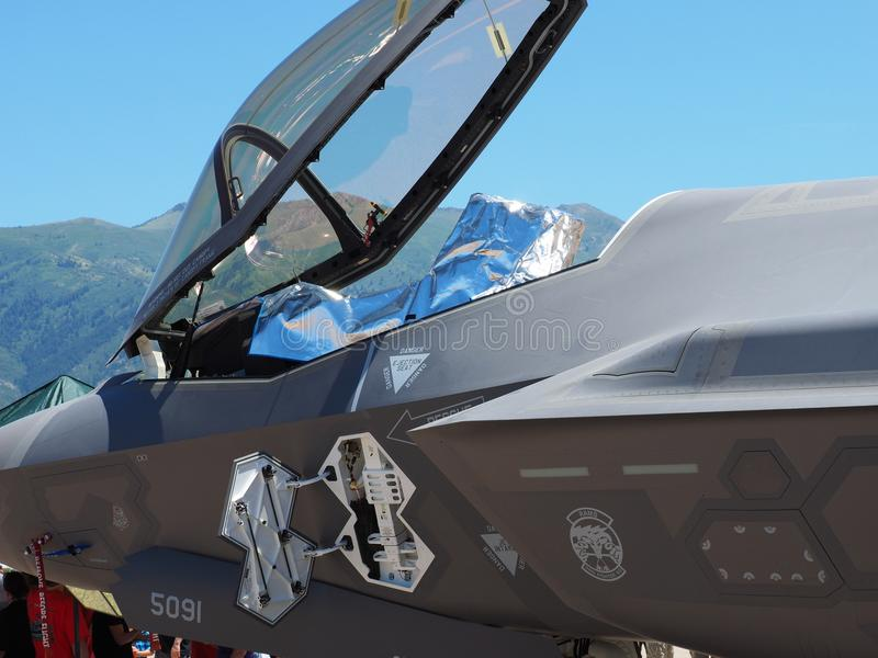 Cockpit F-35 und Überdachung stockbild