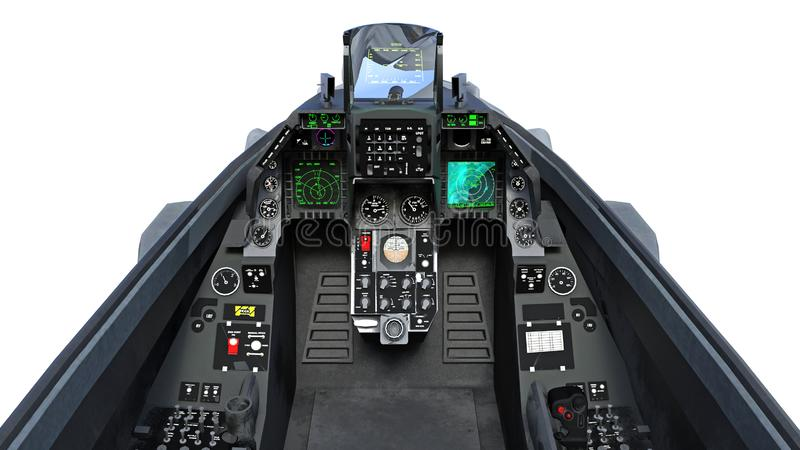 Cockpit of fighter jet plane in flight, military aircraft, army airplane isolated on white background, 3D render. Ing stock illustration