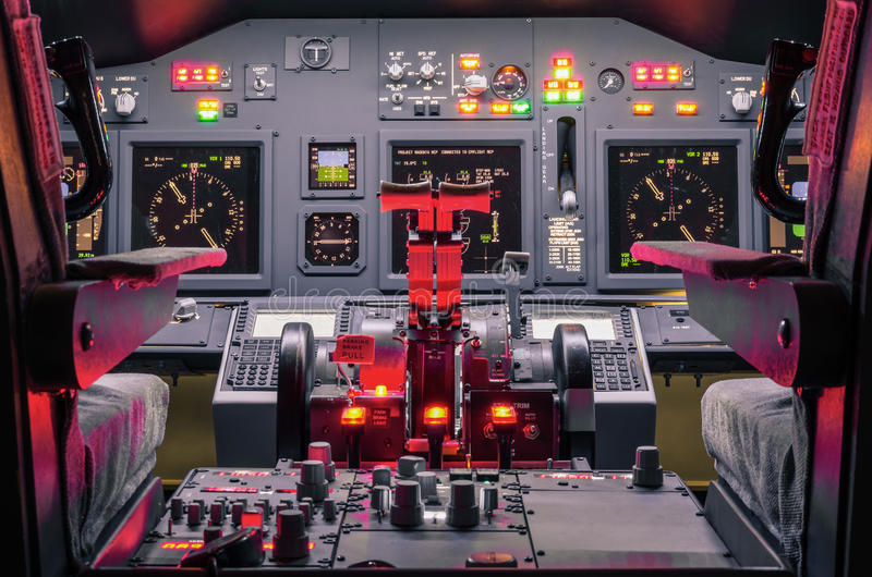 Cockpit of an homemade Flight Simulator - Aerospace industry. Cockpit of an homemade Flight Simulator - Concept of aerospace industry development - Flying stock image