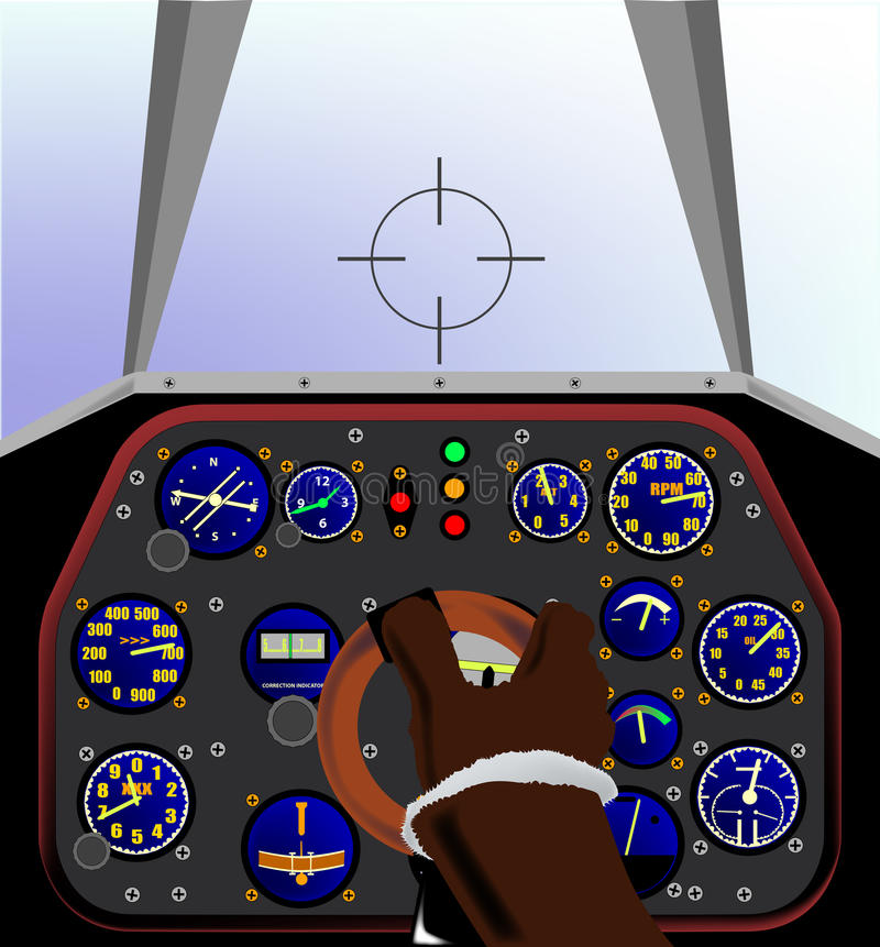 Cockpit. Inside the cockpit of a WWII fighter plane royalty free illustration