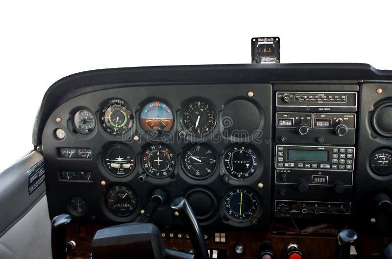 Cockpit of light airplane. stock photos